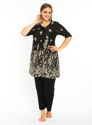 Black - Multi - Plus Size Pyjamas