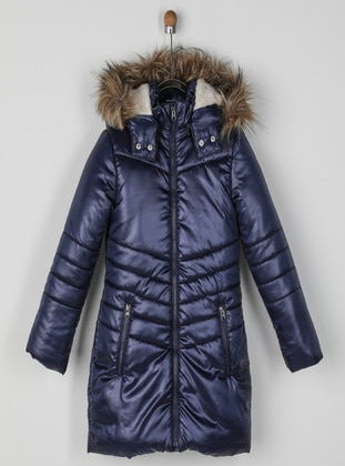 Navy Blue - Girls` Coat
