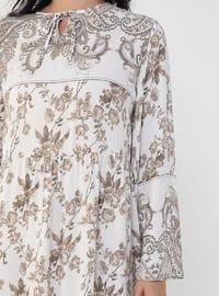 Ecru - - Multi - Unlined - Crew neck - Plus Size Dress