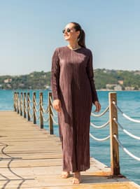 Purple - Fully Lined - Crew neck - Plus Size Dress