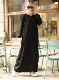 Black - Unlined - Crew neck - Denim - Abaya
