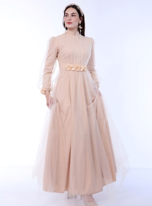 Nude - Fully Lined - Crew neck - Modest Evening Dress