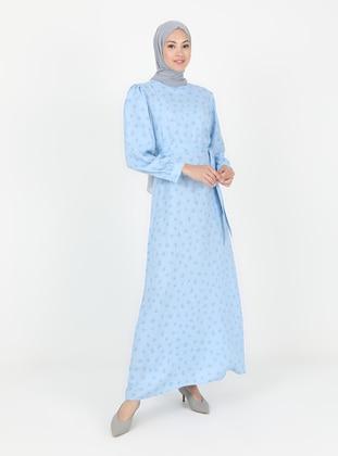 Baby Blue - Multi - Crew neck - Unlined - Modest Dress