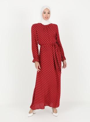 Maroon - Multi - Crew neck - Unlined - Modest Dress