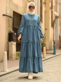 Blue - Unlined - Denim - Abaya