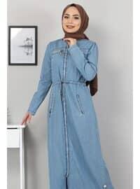 Unlined - V neck Collar - Light Blue - Abaya