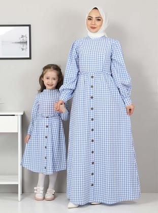 Unlined - Blue - Girls` Dress