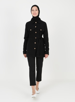 Black - Unlined - Point Collar - Cotton - Jacket