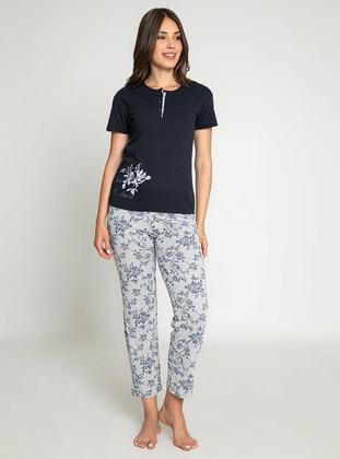 Navy Blue - Crew neck - Multi - Pyjama Set