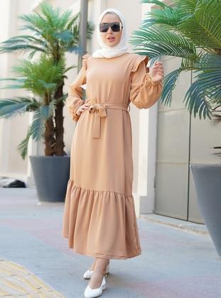 Tan - Crew neck - Unlined - Viscose - Modest Dress