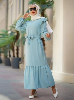 Turquoise - Crew neck - Unlined - Viscose - Modest Dress