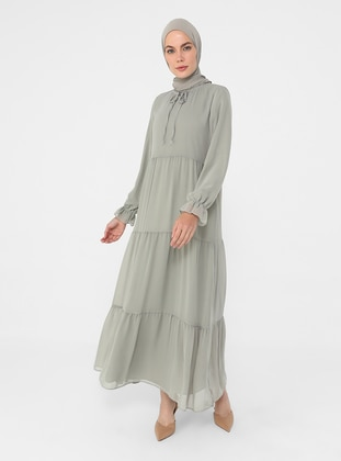 Green Almond - Crew neck - Fully Lined - Modest Dress
