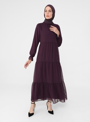 Purple - Crew neck - Fully Lined - Modest Dress