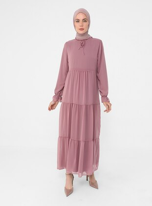 - Crew neck - Fully Lined - Modest Dress