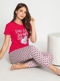 Fuchsia - Crew neck - Multi - Pyjama Set