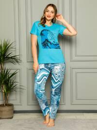 Turquoise - Crew neck - Multi - Pyjama Set