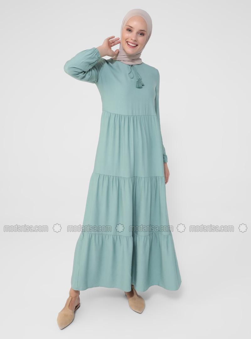 Green Almond - Point Collar - Unlined - Modest Dress