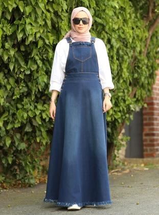 Navy Blue - Denim - Skirt Overalls
