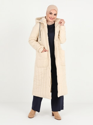 Beige - Fully Lined - Coat