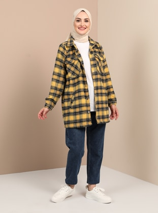 Yellow - Plaid - Unlined - Point Collar - Coat