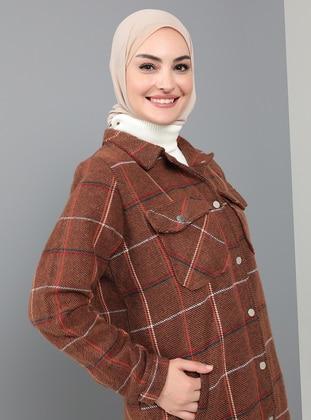 Cinnamon - Plaid - Unlined - Point Collar - Coat
