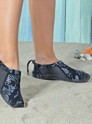 White - Black - Water Shoes - Odesa Ayakkabı
