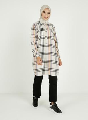 Ecru - Plaid - Button Collar - Cotton - Tunic