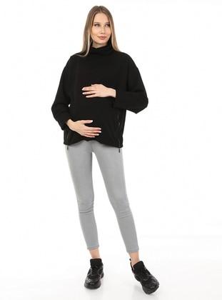 Black - Polo neck - Maternity Tunic / T-Shirt