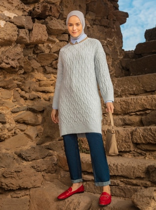 Ice Blue - Polo neck - Unlined - Knit Tunics
