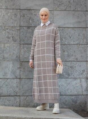 Beige - - Mink - Stripe - Unlined - Crew neck - Knit Dresses