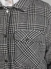 Black - Plaid - Unlined - Point Collar - Coat