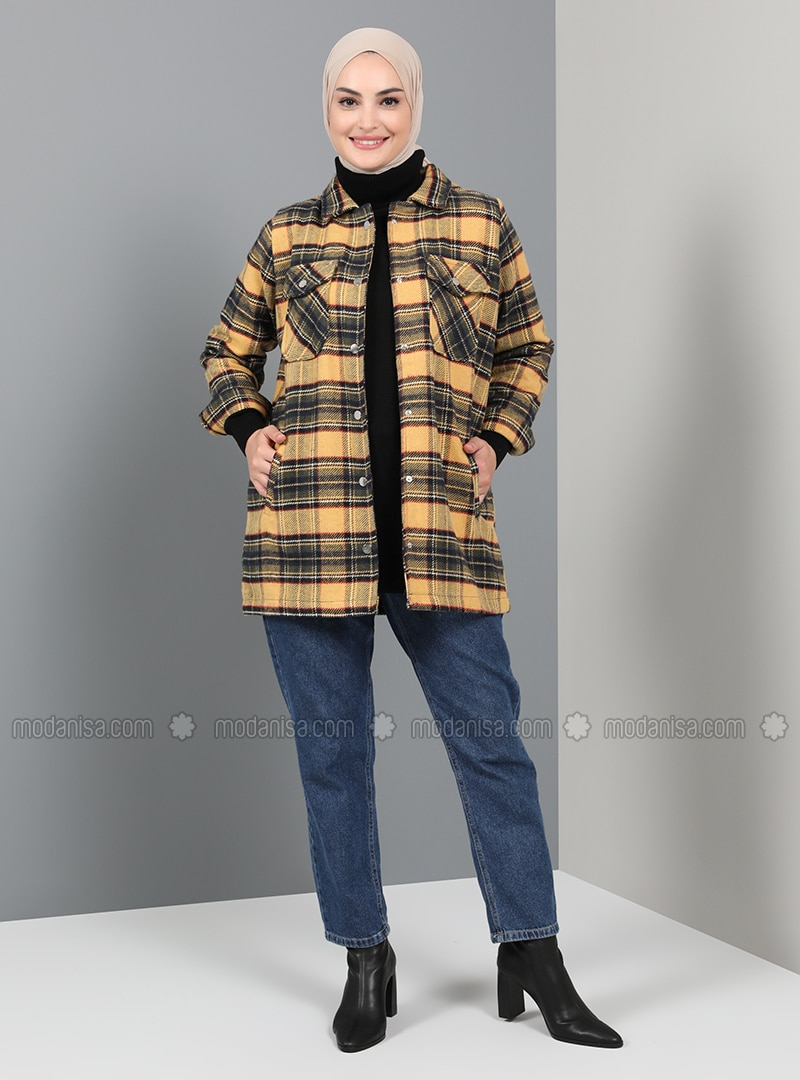 Navy Blue - Plaid - Unlined - Point Collar - Coat