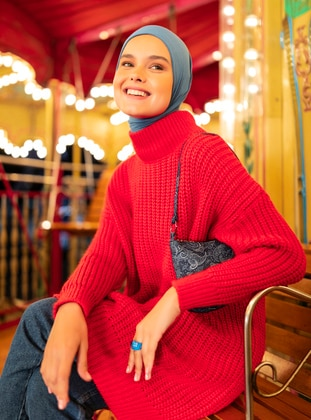 Red - Polo neck - Unlined - Knit Tunics