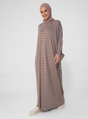 Mink - Stripe - Crew neck - Unlined - Viscose - Modest Dress