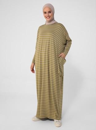 Olive Green - Stripe - Crew neck - Unlined - Viscose - Modest Dress
