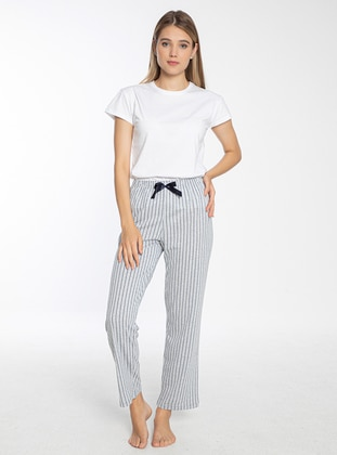 Striped Single Bottom Pyjama - Grey