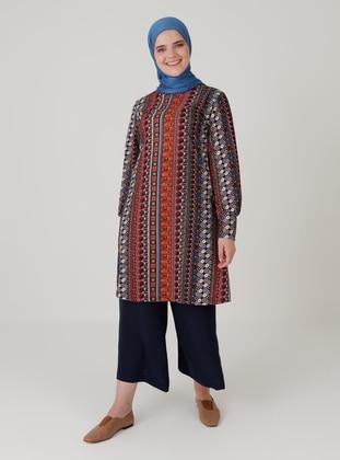 Terra Cotta - Ethnic - Crew neck - Plus Size Tunic