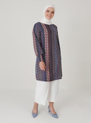 Blue - Ethnic - Crew neck - Plus Size Tunic