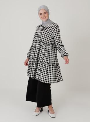 Black - Checkered - Crew neck - Plus Size Tunic