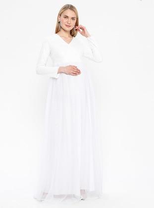 White - Fully Lined - V neck Collar - White - Fully Lined - V neck Collar - Maternity Evening Dress - Moda Labio