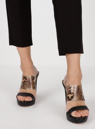 Black - High Heel - Evening Shoes - Dilipapuç