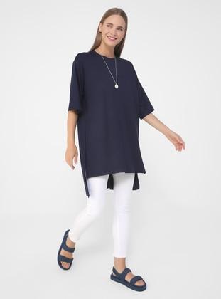 Navy Blue - Viscose - T-Shirt