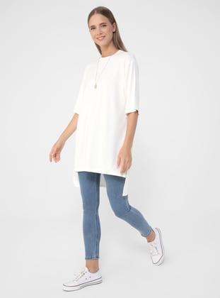 White - - Viscose - T-Shirt