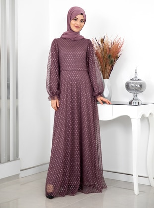Dusty Rose - Fully Lined - Crew neck - Modest Evening Dress