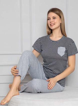 Gray - Gray - Crew neck - Crew neck - Stripe - Stripe - Pyjama Set