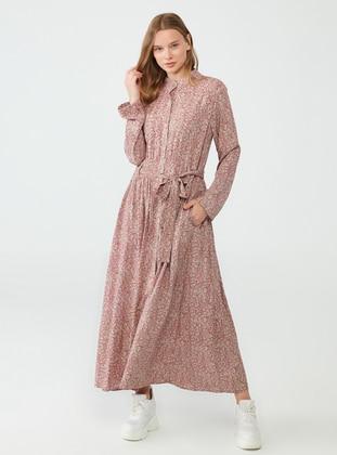 - - Multi - Point Collar - Unlined - Viscose - Modest Dress