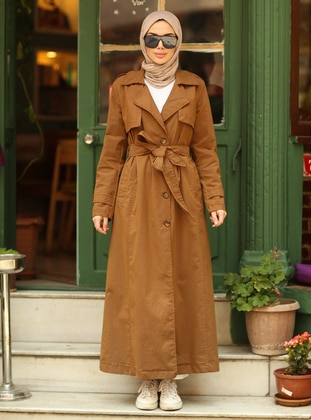 Brown - Unlined - Double-Breasted - Trench Coat - Neways
