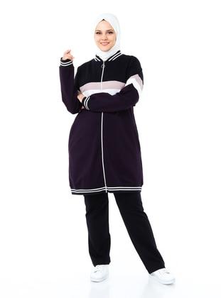 Purple - Crew neck - Plus Size Tracksuit Sets