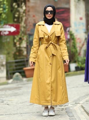 Mustard - Shawl Collar - Cotton - Trench Coat
