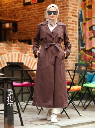 Brown - Shawl Collar - Cotton - Trench Coat